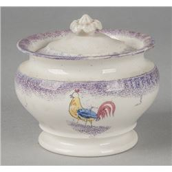 Purple spatter covered sugar, 19th c., with rooster design.