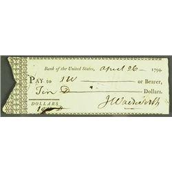 Statesman JERIMIAH WADSWORTH Signed cheque.