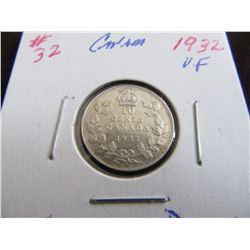 1932 CANADA VF KING GEORGE V SILVER DIME