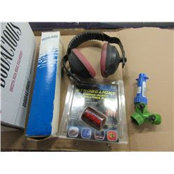 BOX WITH STROBE LIGHT, EAR PROTECTION, HOSE PARTS, PLUMBING PARTS, ETC