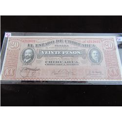 1915 UNCIRCULATED BANK OF MEXICO 20 PESO CURRENCY BANK NOTE