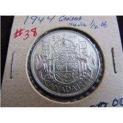 1944 CANADA KING GEORGE VI SILVER HALF DOLLAR