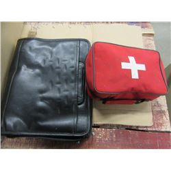 BOX WITH BINDER, FIRST AID KIT, XMAS HEADBANDS, SCOURING PADS, COMPUTER BAG, ETC