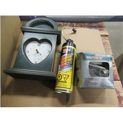 BOX WITH FIRE EXTINGUISHER, SNOW BRUSH, CLOCK, ETC