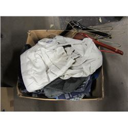 BOX WITH ASSORTED MEN'S CLOTHING (SHIRTS, WINTER JACKET, GOLF SHIRTS, ETC) (MOSTLY SIZE XL)
