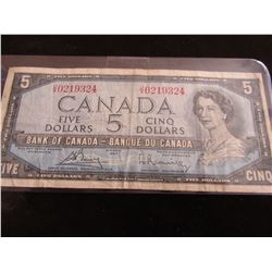 1954 BANK OF CANADA LEGAL TENDER $5 BILL