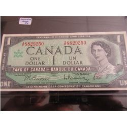 SET OF CANADA CENTENNIAL DOLLAR BILLS (SEQUENTIAL SERIAL NUMBERS)