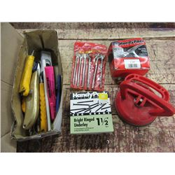 BOX WITH BOX CUTTERS, POWER BIT SET, NAILS, HARDWARE, ETC