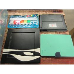 UNCLAIMED STORAGE - TOTE WITH IPAD CASES, KEYBOARDS, PLATE, PLUNGER, BELTS, ETC
