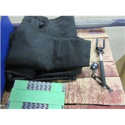 UNCLAIMED STORAGE - TOTE WITH BLACK CURTAIN PANELS, SELFIE STICK, IRON, COOKIE SHEET, ETC
