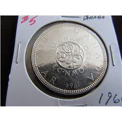 1964BU CANADA SILVER DOLLAR