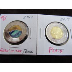 2017 GLOW IN THE DARK & PLAIN KEY DATE CANADA $2 COINS