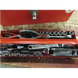 RED METAL TOOL BOX WITH ASSORTED TOOLS (SOCKETS, WRENCHES, ALLEN KEYS, ETC)