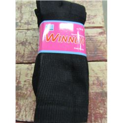 NEW - MEN'S WINNERS BLACK SOCKS (3 PAIR) - PER BUNDLE