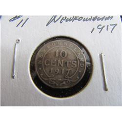 1917 NEWFOUNDLAND KING GEORGE V SILVER DIME