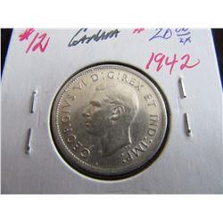 1942AU CANADA KING GEORGE VI SILVER QUARTER