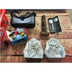 UNCLAIMED STORAGE - BASKET WITH MICKEY MOUSE ALARM CLOCK, GARDEN STONES, ORNAMENTS, DARTS, ETC