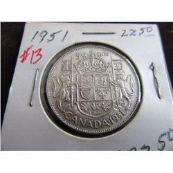 1951 CANADA KING GEORGE VI SILVER HALF DOLLAR