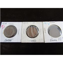 1916, 1917, & 1918 STOCK ROW CANADA OLD KING LARGE PENNIES