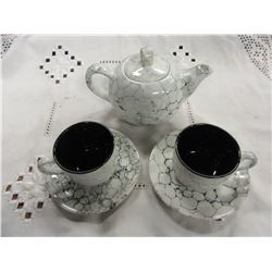 MARBLE PATTERN TEA SET (TEAPOT, 2 CUPS & SAUCERS)