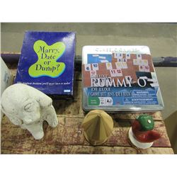 BOX WITH GAMES, RUMMY-O, ORNAMENTS, BOTTLES, ETC