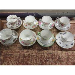 BOX WITH 8 ASSORTED CUPS AND SAUCERS INCLUDING ROYAL ALBERT, FOLEY, ETC