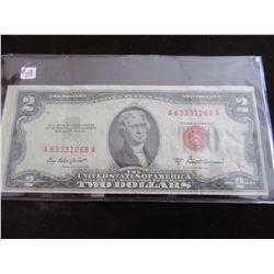 1953 RED SEAL LEGAL TENDER USA $2 BILL