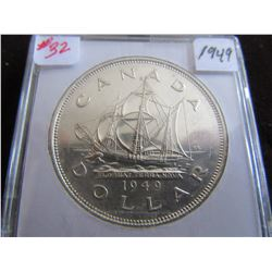 1949 SHIP CANADA CASED SILVER DOLLAR