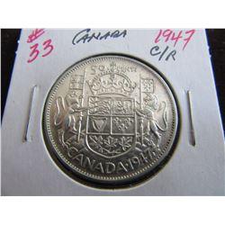 1947 (CURVED 7) KEY DATE CANADA SILVER HALF DOLLAR