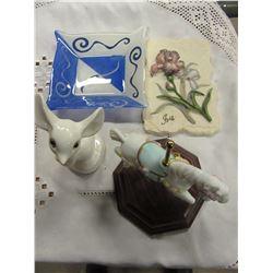 BOX WITH IRIS PLAQUE, BLUE PLATE, CAROSEL HORSE ORNAMENT, ETC