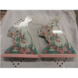 2 WOOD EASTER BUNNY ORNAMENTS