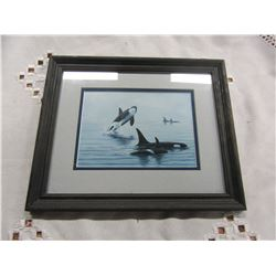 """WOOD FRAMED WHALE PICTURE (APPROX 8""""X 10"""")"""