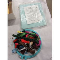 BOX WITH ASSORTED EMBROIDERY FLOSS, SEWING SUPPLIES, ETC