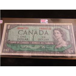 1954 BANK OF CANADA (POKER HAND SERIAL NUMBER 3-8'S & 2-3'S) $1 BILL