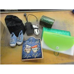 BOX WITH TRINKET BOXES, CELL PHONE MOUNT, TOOL BELT, HATS, OFFICE SUPPLIES, ETC