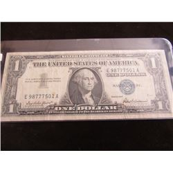 1957 BLUE SEAL LEGAL TENDER USA SILVER CERTIFICATE BANK NOTE
