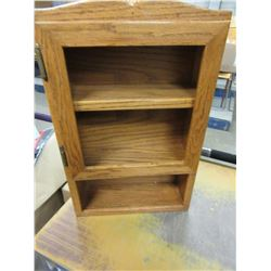 OAK WALL MOUNT SHELF (NEEDS GLASS)