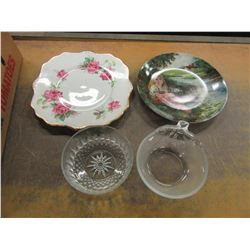 BOX WITH ASSORTED DISHWARE, GLASS FRUIT BOWLS, COLLECTOR PLATE, ROYAL STAFFORDSHIRE SERVING PLATE, E