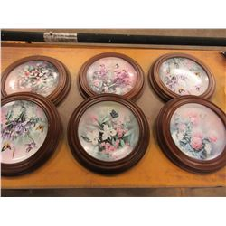 6 FLOWER COLLECTOR PLATES WITH WOOD STYLE FRAMES (BRADFORD EXCHANGE)