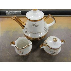 """HAPPY ANNIVERSARY"" CHERUB TEAPOT, CREAM & SUGAR"
