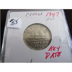 1947 DOT SCARCE KEY DATE CANADA NICKEL