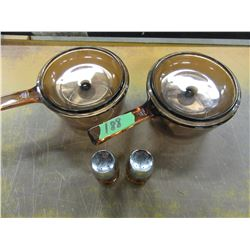 2 VISION POTS & LIDS, SALT/PEPPER SHAKERS