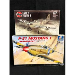 "1:72 SCALE UNASSEMBLED MODEL KIT LOT (FAIREY FIREFLY 5, P-51 MUSTANG I ""RAZORBACK"")"