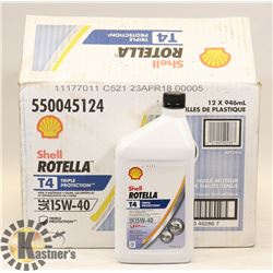 CASE OF 12 SHELL ROTELLA 15W40 MOTOR DIESEL OIL