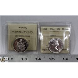 LOT OF 2 CANADIAN 50 CENT SILVER COINS 1965-PL66,