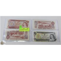 LOT OF THREE 1974 CANADIAN $2 BILLS & ONE 1973