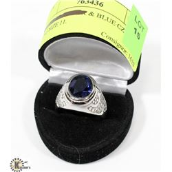 SILVER TONED & BLUE CZ MENS RING SIZE 11.