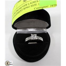 STERLING SILVER LADIES CZ ENGAGEMENT RING SIZE 11.