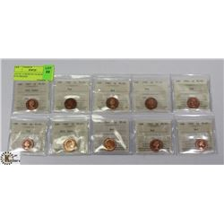 LOT OF 10 ASSORTED YEAR PENNIES ICCS GRADED