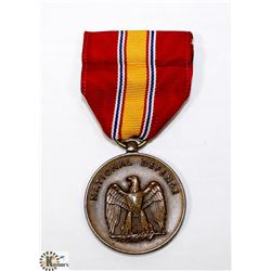 WWII NATIONAL DEFENCE MEDAL WITH RIBBON AND BOX.